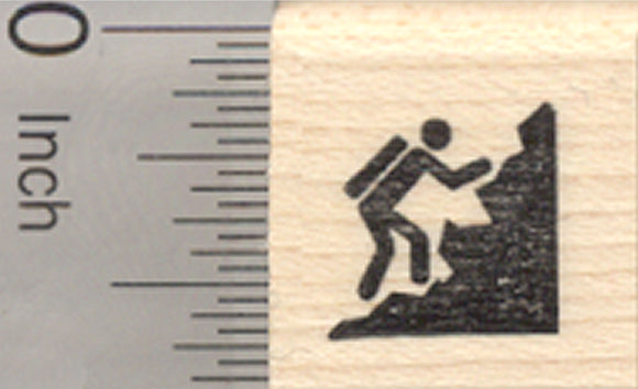 Tiny Rock Climber Rubber Stamp, .5 inch tall, Mark your Calendar or Activity Log