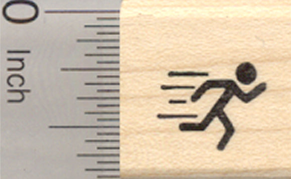 Tiny Running Rubber Stamp, .5 inch tall, Mark your Calendar, Activity Log