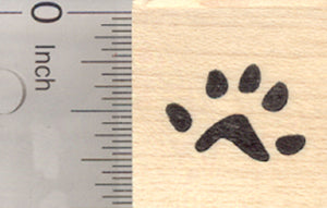Mouse Paw Print Rubber Stamp, Five Toes, Rear Foot