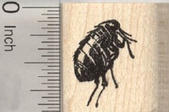 Small Flea Rubber Stamp .8 inch
