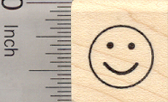 Smile Rubber Stamp, .5 inch Happy Face, emoji