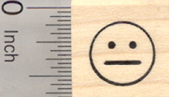 Neutral Face Rubber Stamp, emoji, .5 inch size