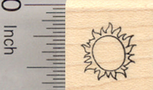 Tiny Sun Rubber Stamp .5 inch Tall