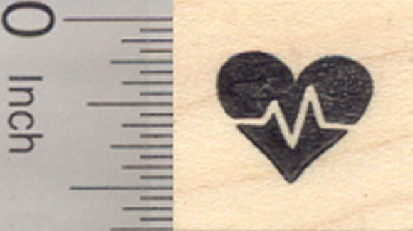 Tiny Cardio Rubber Stamp, Great for Fitness Log., .5 inch Width