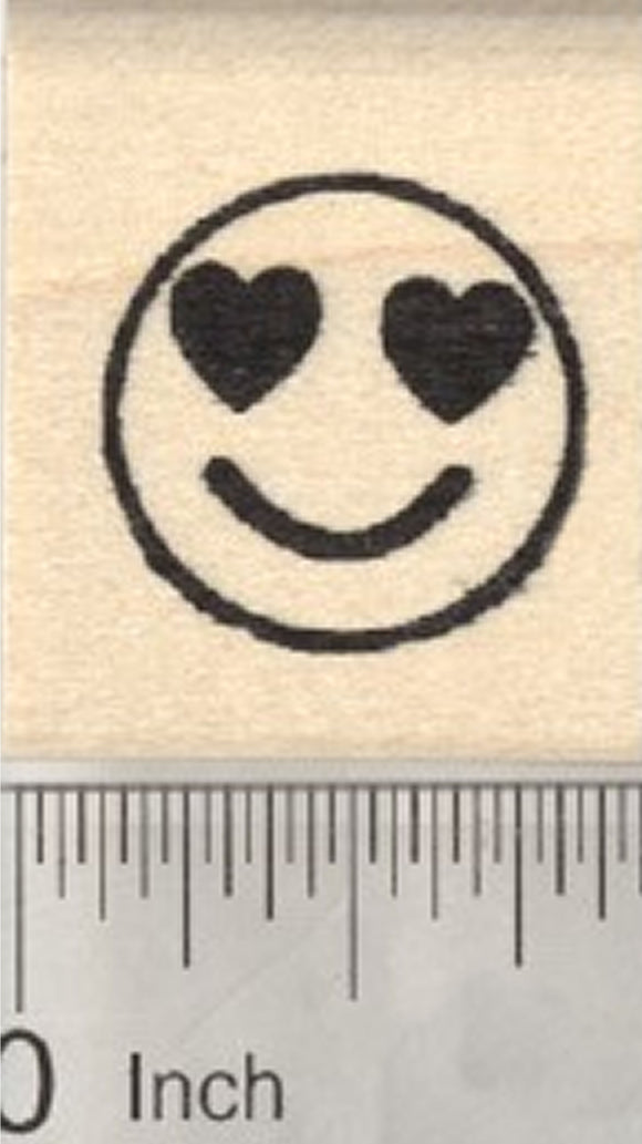 Smiling Face Rubber Stamp, with Heart-Shaped Eyes, .75 inch Emoji