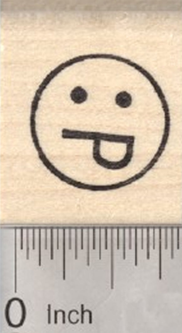 Smiling Face Rubber Stamp, with Tongue Out, .75 inch Emoji