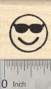 Cool Emoji Rubber Stamp, Smiling Face with Sunglasses