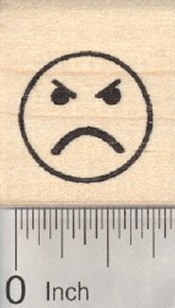 Angry Face Emoji Rubber Stamp .75 inch Size