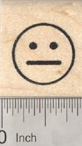 Neutral Face Emoji Rubber Stamp .75 inch Size
