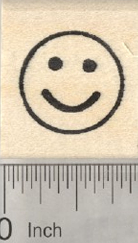 Smiley Face Emoji Rubber Stamp, .75 inch Size