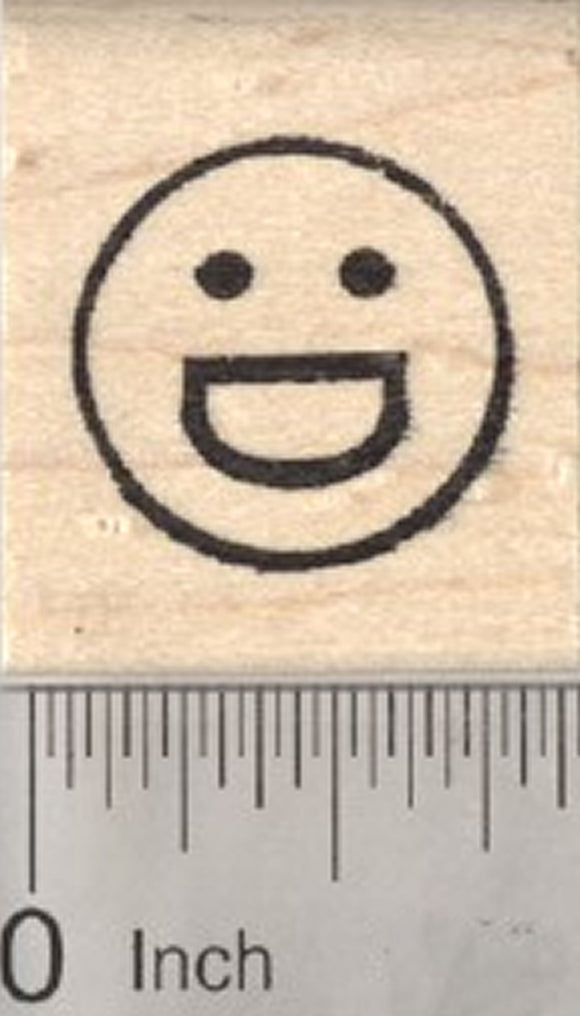 Grinning Face Emoji Rubber Stamp, with Big