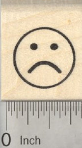 Frowning Emoji Rubber Stamp, .75 inch Sad Face