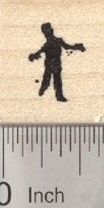 Tiny Zombie Rubber Stamp, Silhouette Walker