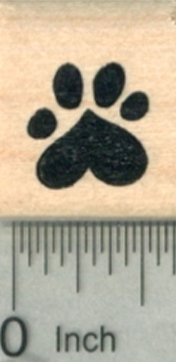 Small Heart Paw Print Rubber Stamp, Dog, Cat Valentine Series .5 inch Wide