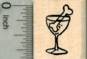 Dog Cocktail Rubber Stamp, Party Beverage with Bone