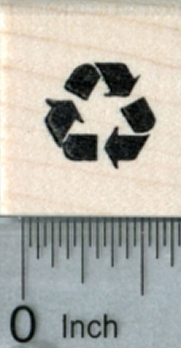 Tiny Recycling Rubber Stamp, Recycle Symbol