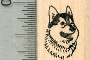 Tiny Husky Rubber Stamp, Dog Portrait