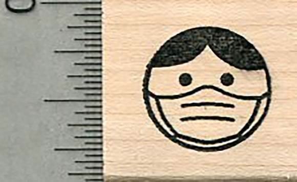 Masked Emoji Rubber Stamp, Mask Series