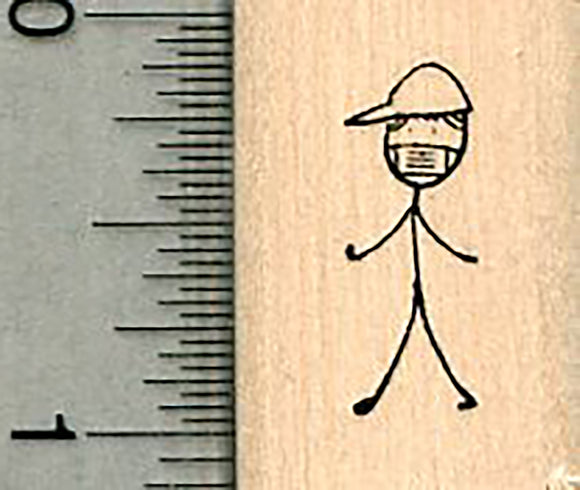 Tiny Boy Rubber Stamp, Masked Stick Figure Family