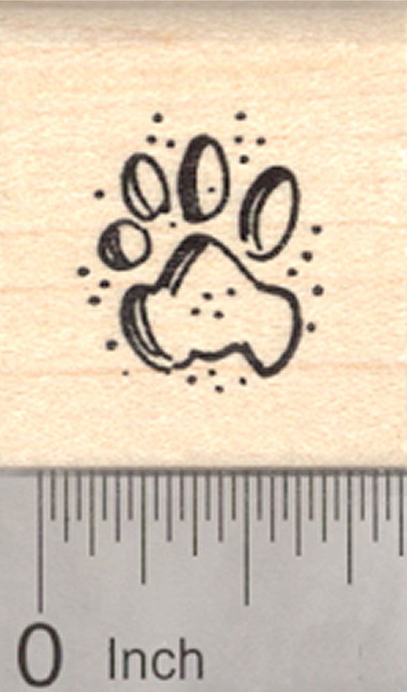 Open Paw Print Rubber Stamp