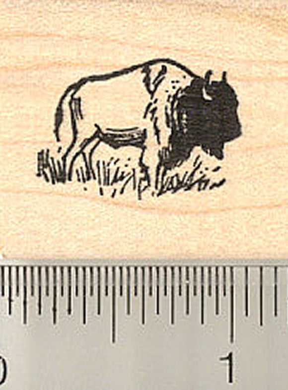 Tiny Bison Rubber Stamp, American Buffalo