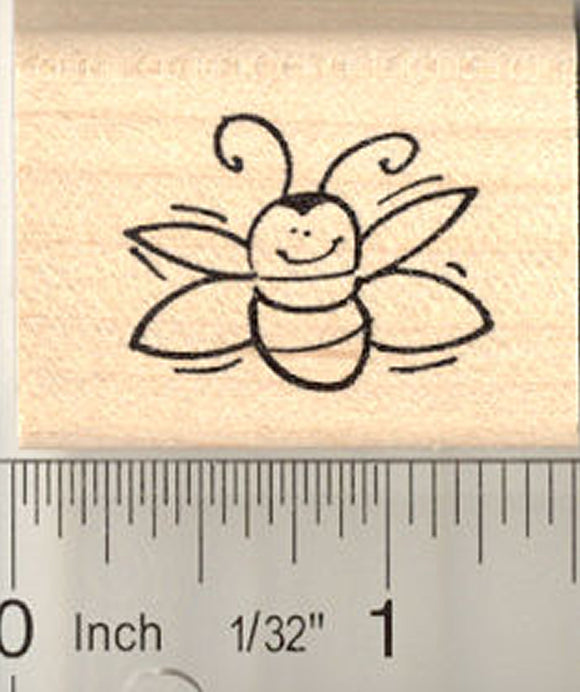 Cute Flying Bug Rubber Stamp