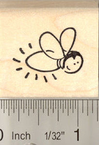Cute Firefly Rubber Stamp