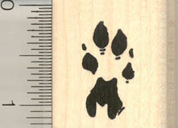 Cheetah Paw Print Rubber Stamp