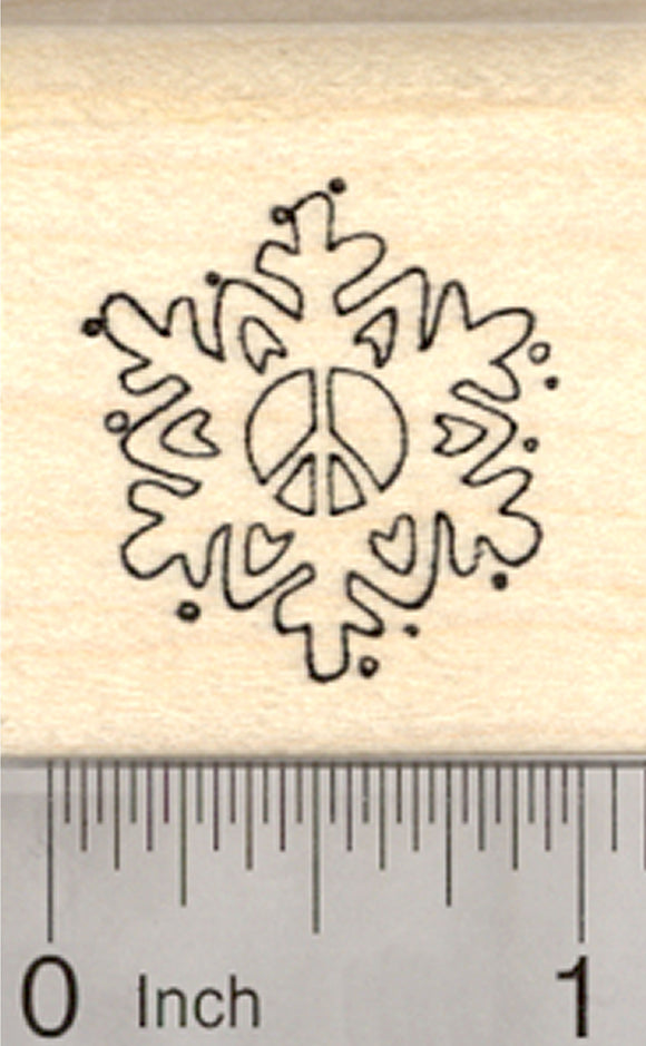 Peace Symbol Snowflake Rubber Stamp