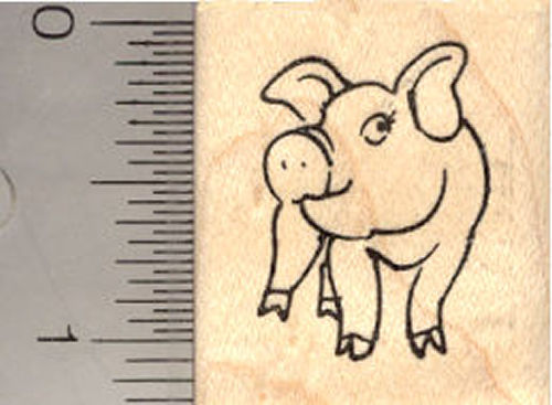 Small Pig Rubber Stamp