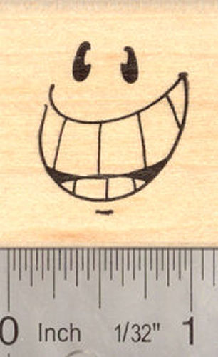 Big Grin Rubber Stamp, Smile, Smiley