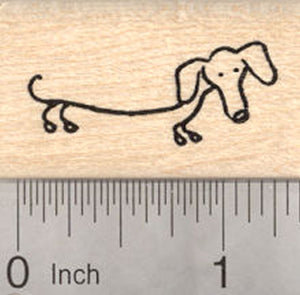 Dachshund Rubber Stamp, Stick Figure Dog
