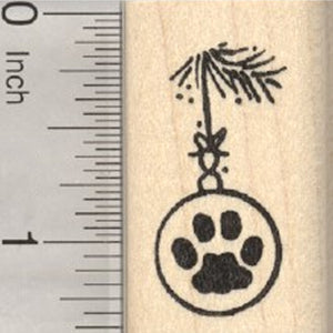 Paw Print Christmas Ornament Rubber Stamp, Cat or Dog Series