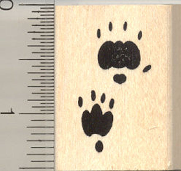 Hedgehog Paw Print Rubber Stamp, Tracks