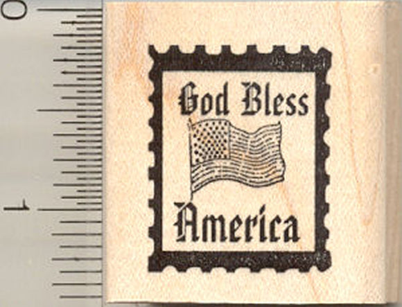 God Bless America Rubber Stamp, Faux Postage