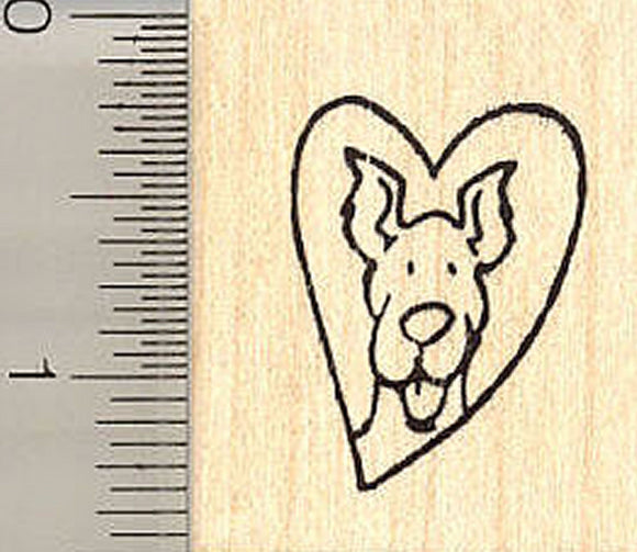 Dog in Heart Rubber Stamp