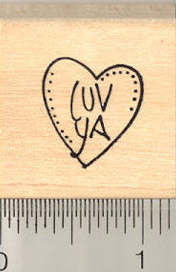 Tiny Luv Ya Heart Rubber Stamp