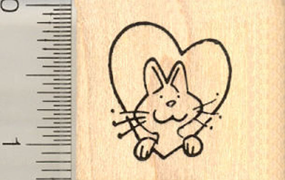 Tiny Cat in Heart Rubber Stamp