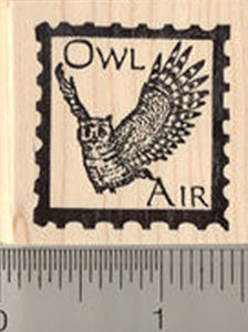 Owl Air Faux Post Rubber Stamp