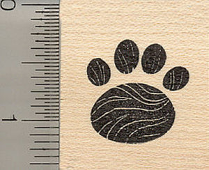 Rounded Paw Print Rubber Stamp