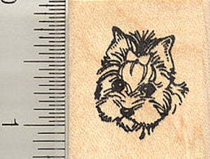 Small Yorkie Dog Face Rubber Stamp (Yorkshire Terrier)