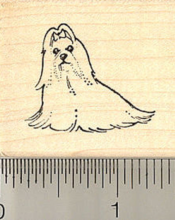 Small Maltese Dog Rubber Stamp