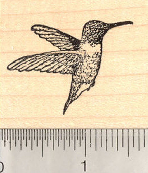 Small Hummingbird Rubber Stamp, in Flight, Wings Back