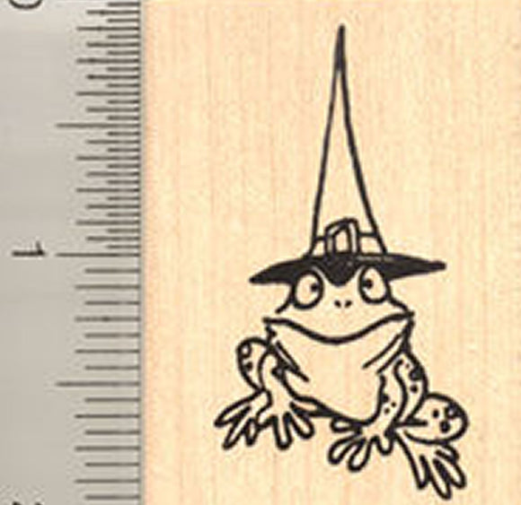 Frog Witch Rubber Stamp