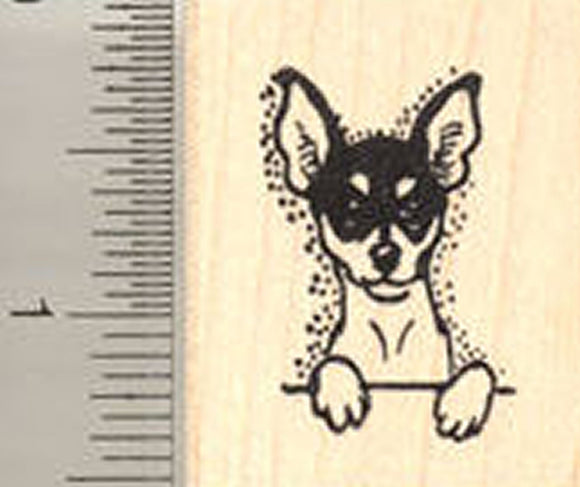 Toy Fox Terrier Dog Rubber Stamp - Wood Mounted