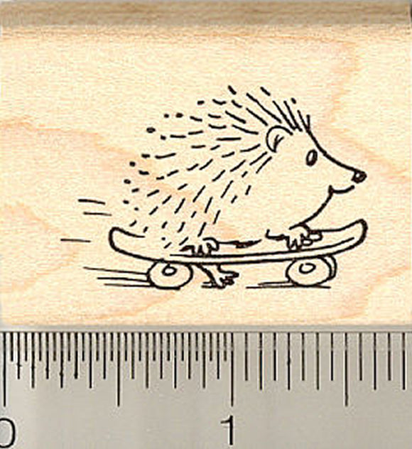 Skateboarding Hedgehog Rubber Stamp