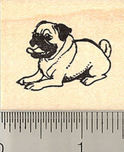 Cute Little Pug Rubber Stamp