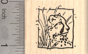 Cheetah Square Rubber Stamp