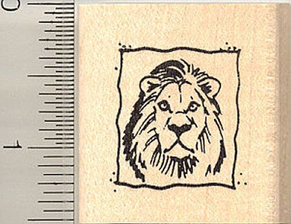 Lion Square Rubber Stamp