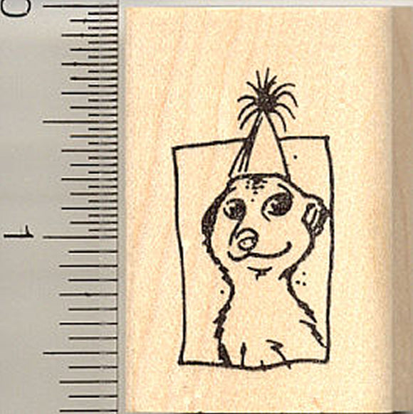 Party Hat Meercat Rubber Stamp